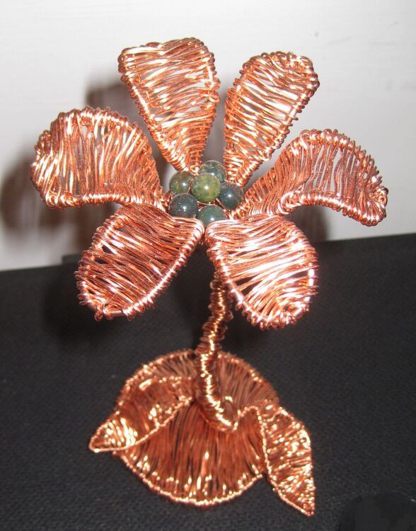Copper flower with jade