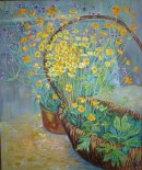Basket of buttercups. Oil on canvas