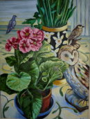 'Still life with birds'. Oil on canvas. 45x35cm