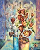 Honesty and Physalis infront of the window. Oil on canvas