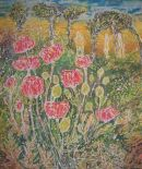 Poppies. Batik on canvas