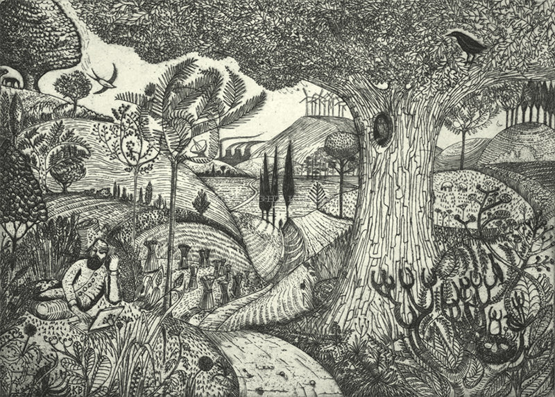Man on a Laptop (after Samuel Palmer)