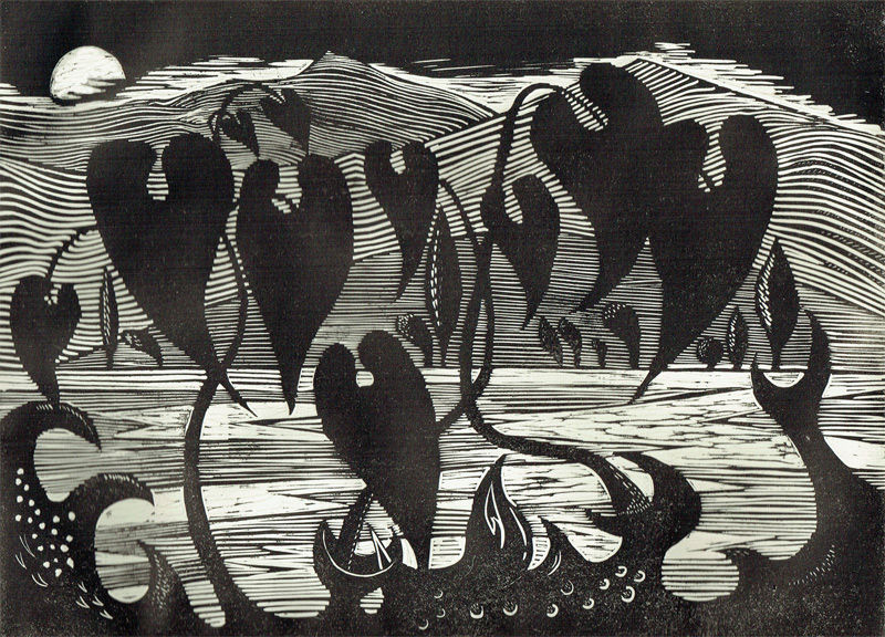 Black leaves shaped like hearts in a strange night landscape with the moon rising over mountains behind.