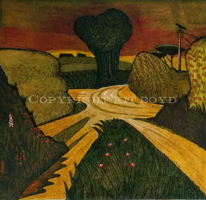 The Crossroads - hand coloured etching 2/75