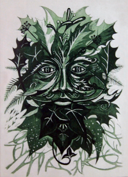 Winter Green Man Etching (5 pack of cards)