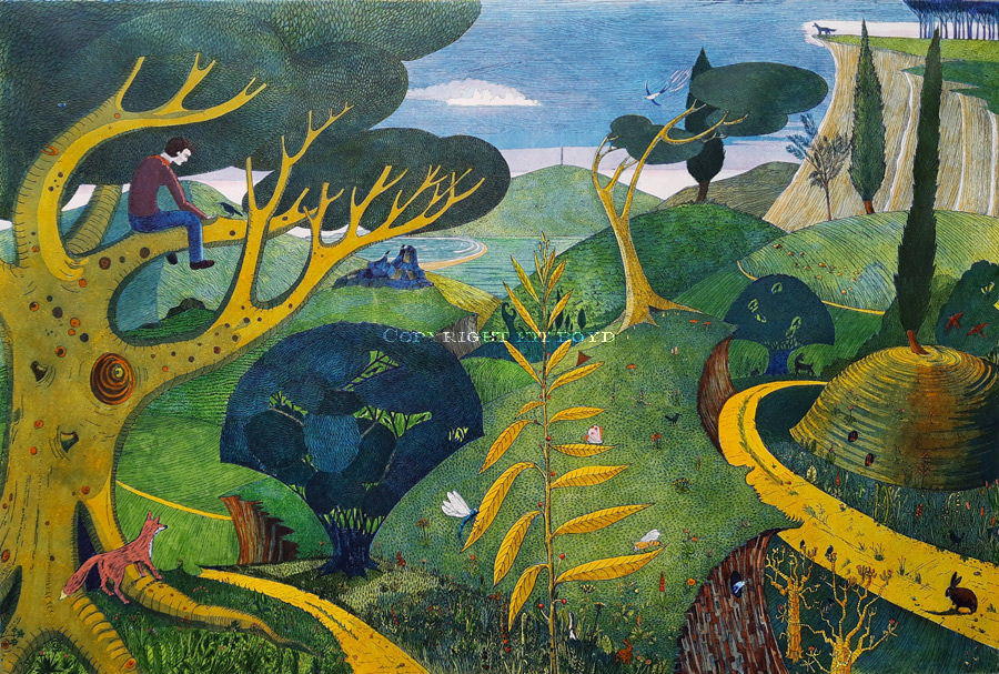A very colourful landscape of a boy in a tree looking our over a landscape with animals and birds