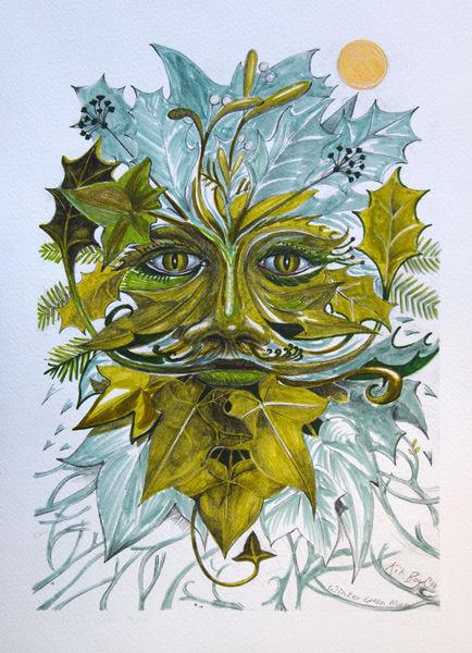 Winter Green Man - Hand Coloured