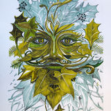 Winter Green Man - Hand Coloured