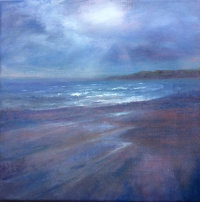 February Light Filey Beach Oil