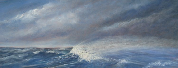 Wild Windswept Sea 16cm  x44cm Sold