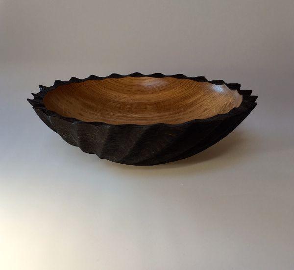 Scorched oak fluted bowl