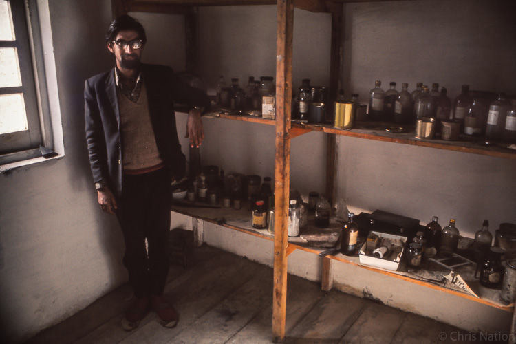 Dr Dogra in his dispensary. Purbani. Himachal Pradesh. IND.NR20