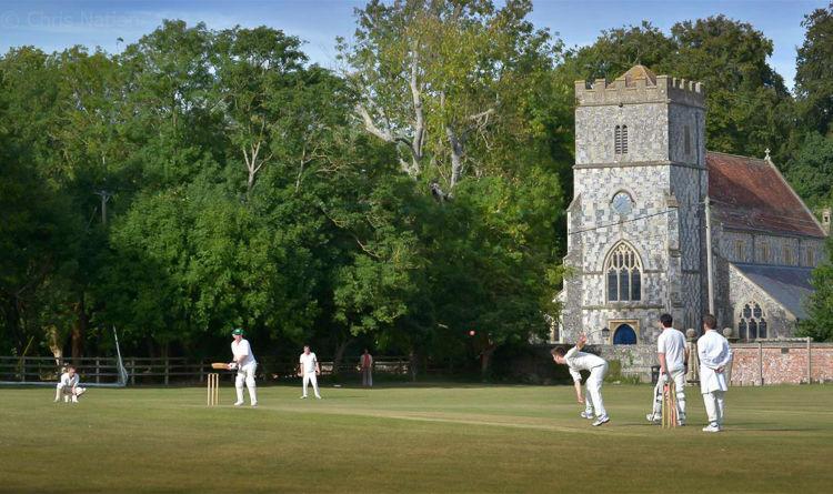 Village cricket match. Chitterne.Wilts. ENG NR20