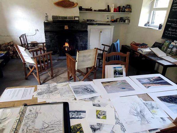 <b> Langstrath drawings in Bark House bothy</b>