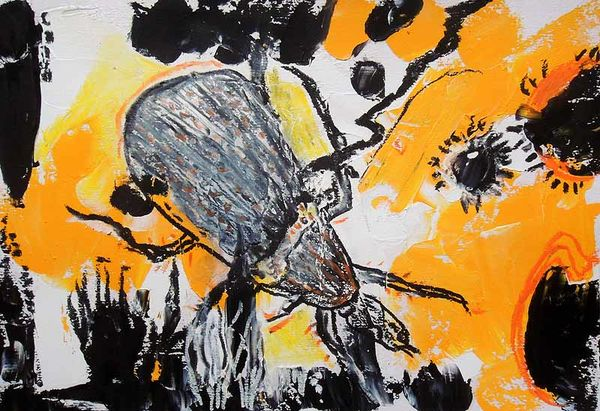 <b> beetle, oil pastel</b>