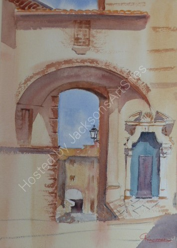 Archway and entrance door to San Arcangelo Church, Panicale