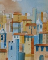 Italian Village Roofscape Abstract