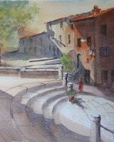 Lucignano on steps of S. Francesco Tuscany