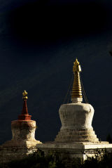 2 Chortens Reting monastery