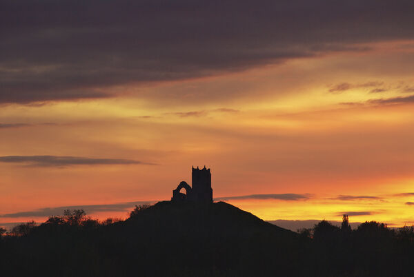 Burrow Mump sunset Somerset