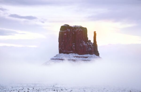 Mitten in cloud and snow Monument valley USA