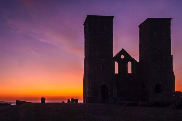 Reculver towers sunset Kent