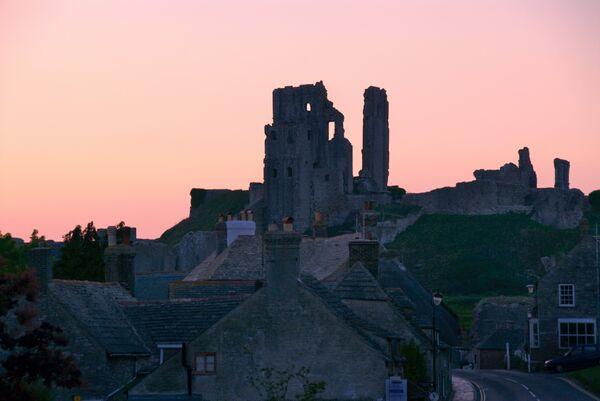 Corfe castle from west street Dorset