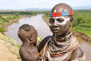 Karo woman with child, Omo valley