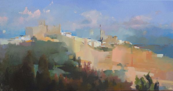 Arcos de la frontara, oil on canvas 40 x 122cm.  Unavailable.