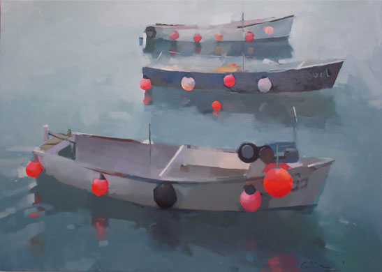 Becalmed. Oil on canvas 76x122 cm.  Unavailable.