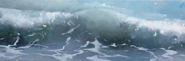 Breaking wave.  Oil on canvas 40 x 122cm