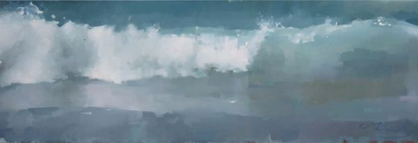 Collapsing-Wave.  Oil on Canvas, 40 x 122cm