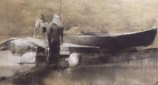 Estuary fishermen, Chalk pastel & pencil on paper