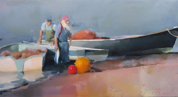 Estuary fishermen, oil on canvas 40 x 122cm