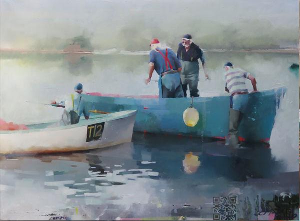 Fishermen, Teign Estuary. Oil on canvas, 76 x 106 cm.