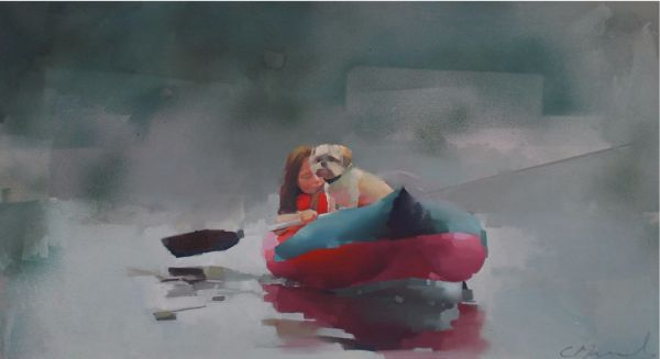 Getting-back, oil on canvas 40 x 122 cm