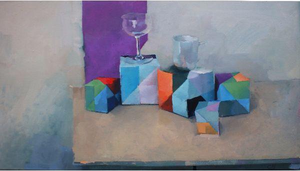 Harbour, oil on canvas 48 x 89cm