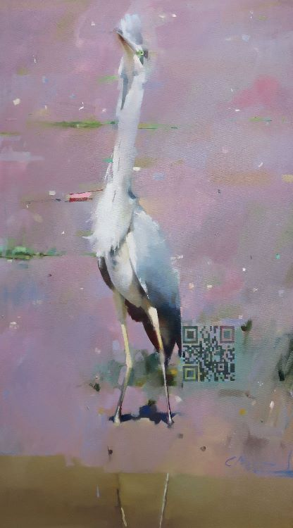 Mobbed Heron at Arch Brook. Oil on canvas 91 x 51cm
