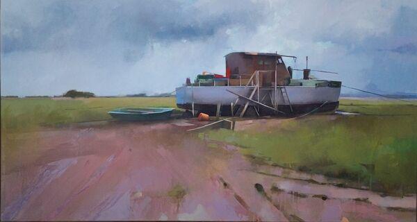 Boat on the Marsh. Sunderland Point.  Oil on canvas,  54 x 99 cm