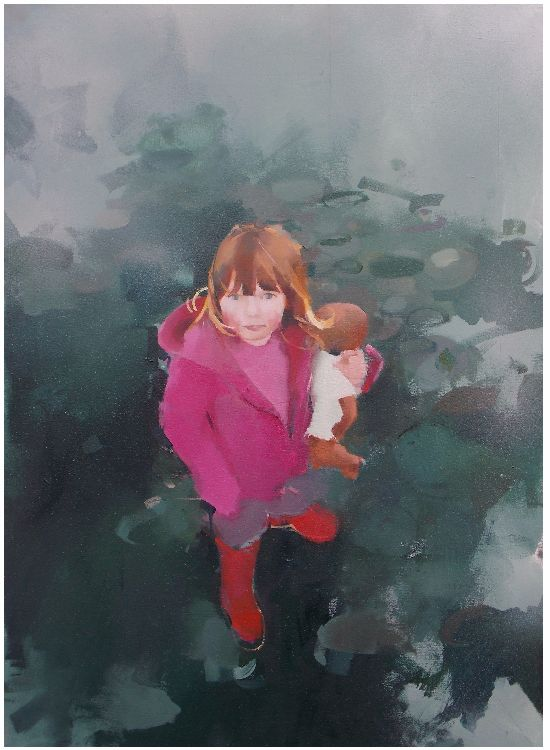 New wellies, oil on canvas 87 x 61cm