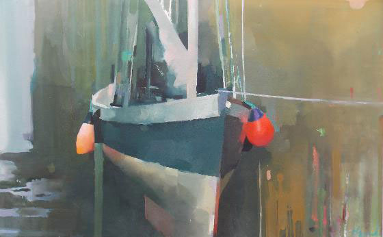 Newlyn old harbour, oil on canvas 76 x 122cm