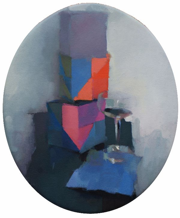 Paper Cubes, oil on canvas 41 x 35cm