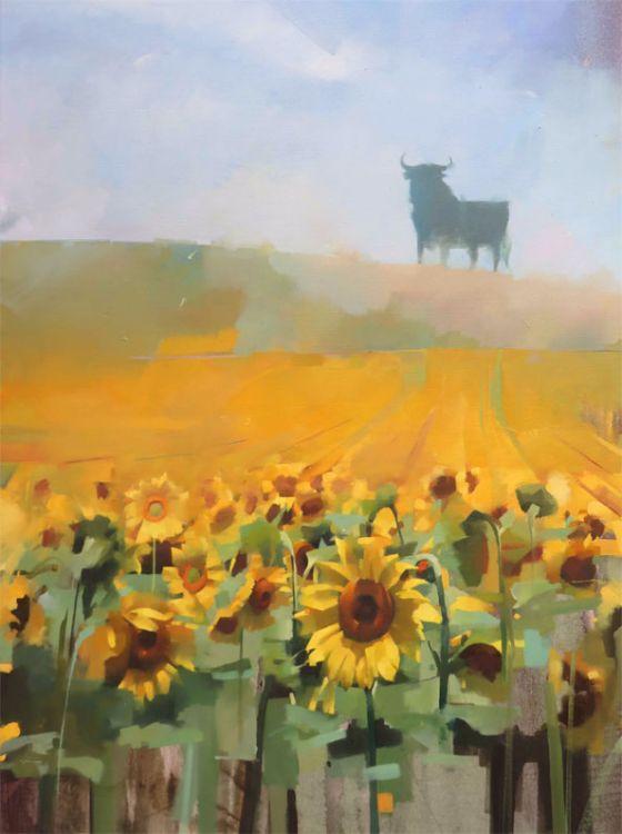 Sunflowers & sherry, oil on canvas 122 x 76cm