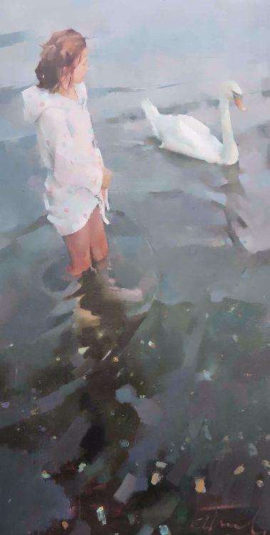 Swan, oil on canvas 122 x 76cm