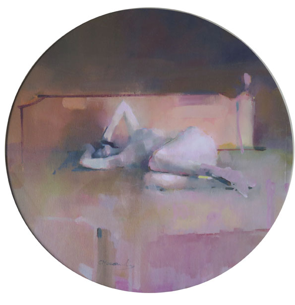 The-bedstead, oil on canvas 39 cm diameter