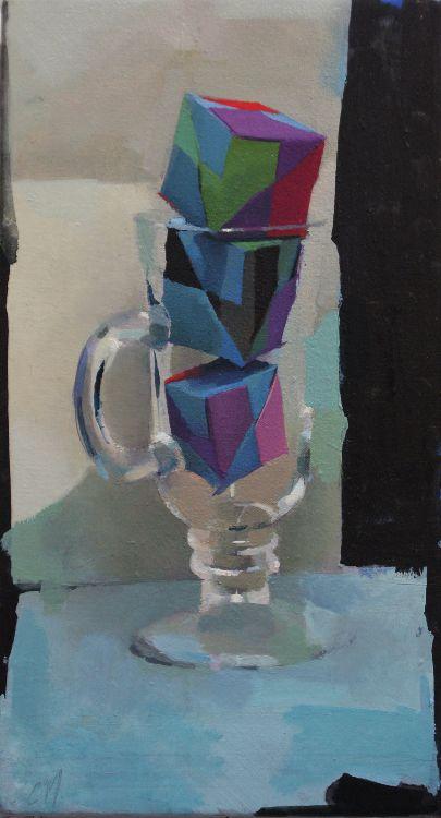 Tumbling Dice, oil on canvas, 37 x 22cm