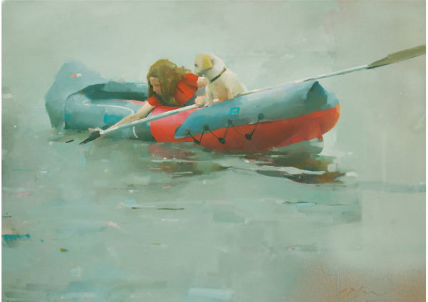 Two in a boat, oil on canvas 76 x 106