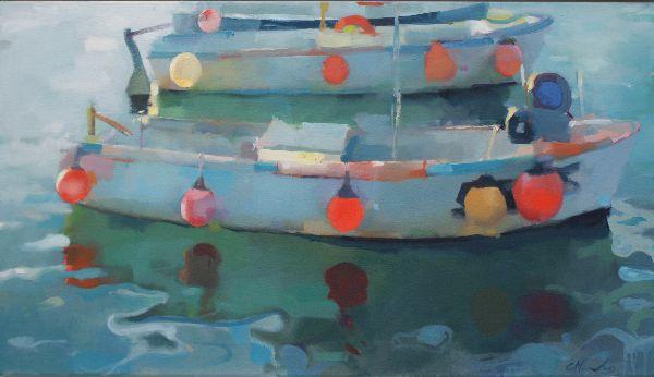 Harbour, oil on canvas 91 x 56cm.  Unavailable.