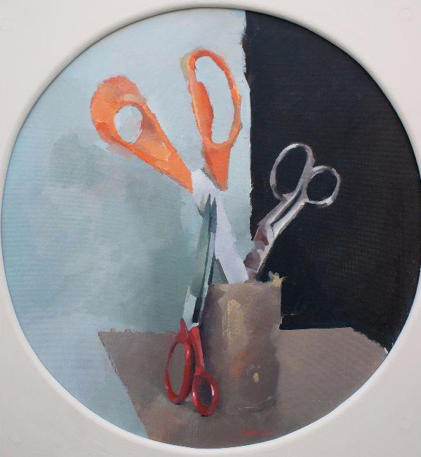 Scissors, oil on canvas 42 x 40cm