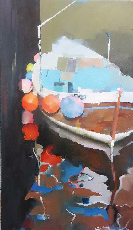 Whitby Harbour.  Oil on canvas 104 x 69cm